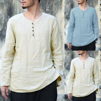 Men's Long Sleeve Casual Solid Blouse Linen Cotton Kurta Shirts Loose Tunic Tops