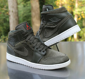 Nike Air Jordan 1 Mid Sequoia Men's Size 13 Green Orange White 554724-302