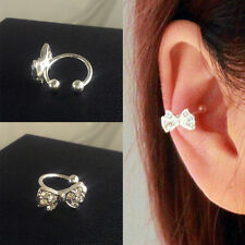 2Pc Shiny Rhinestone Bowknot Ear Cuff Clip Ear Jacket Studs Women's Jewelry Gift