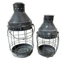 Set of 2 Shabby Chic Metal Candle Holders Garden Hanging AllChic