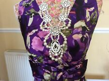 Phase Eight Purple Floral Wiggle Dress Size 16 Immac Holidays 12 May