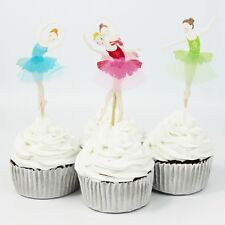 Elegant Set of 24 Ballerina Cupcake Toppers with Tulle Tutu