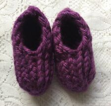 New Handmade Knit Knitted Infant Toddler 18-24 M Purple Slippers Acrylic Slip On