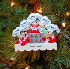 Baking Cookies Family of 5 Personalized Christmas Tree Ornaments