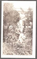 Vintage Photograph 1926 American Eskimo Dog Boy Garden Girl Old Mexico Photo