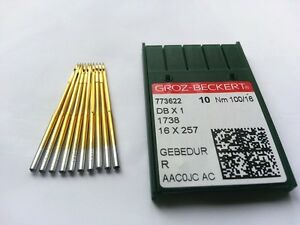 10pcs GROZ-BECKERT 100/16 Titanium Plated DB1 DBX1 1738 Industrial Sewing Needle
