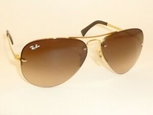 New Ray Ban Sunglasses Rimless Aviator Gold Frame RB 3449 001/13  Gradient Brown