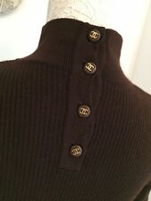 Authentic Chanel Brown Short Sleeved Turtle Neck Jumper Small 8 10 Ribbed