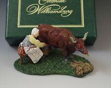1997 Mib Colonial Williamsburg Dairymaid Milking Figurine Rare