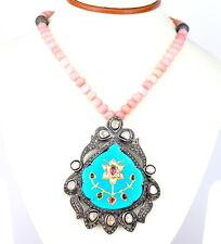 EXTRAORDINARY 14KT 268CT RUBY DIAMOND PINK OPAL TURQUOISE MUGHAL NECKLACE !!!
