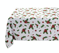 Holiday Chic Christmas Evergreens & Berries Fabric Tablecloth - Assorted Sizes