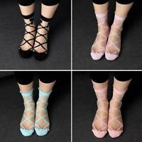 Lady Bowknot Sheer Mesh Bow Knit Frill Trim Transparent Crystal Lace Ankle Socks