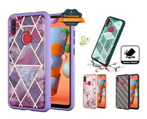 For Samsung Galaxy A21 Hybrid Marbling Design Shockproof Rubber TPU Case Cover