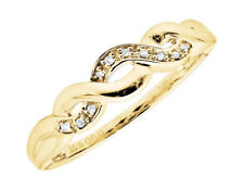 10K Yellow Gold Lace Infinity Real Diamond Engagement Wedding Band Ring 0.05ct