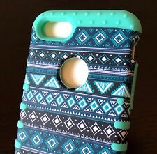 For iPhone 7 / 8 - Hybrid Impact Armor Case Cover Teal Green Blue Aztec Tribal