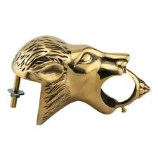 "Decorative Bar Mount - Lion Head Bar Rail Bracket - Polished Brass - 2"" Od"