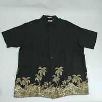 Natural Issue Mens Large Button Up Shirt Black Silky Touch Short Sleeve Rayon