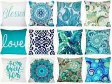 "Cushion COVER Turquoise Blue White Decorative Velvet Throw Pillow Case 18x18"" US"