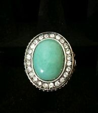 Ring- VINTAGE STYLE ! TURQUOISE SILVER simulated diamond SIZE 7-9