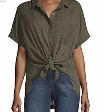 J. NWT Women's A.N.A Green Shirt Short Sleeve Camp Oregano Large