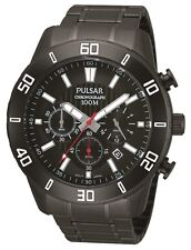 PULSAR PT3367X1 Chronograph Sports Gents Black Red 100M WR, 2Yr Guar RRP £180