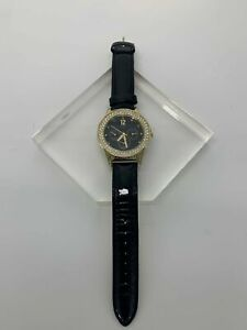 """GUESS Fashion Jewelry Watch 9.5"""" Total Length Black Shiny Leather Band w/ Gold C"""