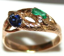 VICTORIAN 14k GOLD SAPPHIRE EMERALD DIAMOND 2 INTERTWINED SNAKE GOOD LUCK RING