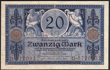 1915 20 Mark WWI German Old Vintage Paper Money Banknote Currency World War XF