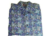 "MAUI TRADING CO Short Sleeve Hawaiian Shirt Large Blue Black White 52"" Chest"