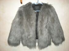 GUESS LOS ANGELES,SHAGGY LONG HAIR,FAUX FUR GRAY JACKET.WOMEN`S SMALL.AWESOME!!