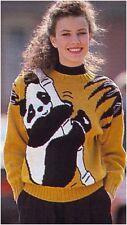 Lady's DK Intarsia Panda Sweater Vintage Knitting Pattern Instructions
