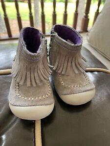 Stride Rite Tasha Leather Gray Boots Girls Sz 5.5W UK4.5 EU21.5