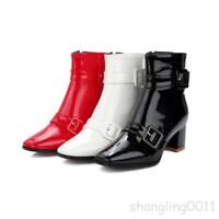 Womens Lady Patent Leather Buckle Strap Block heels Shoes Square Toe Ankle Boots
