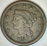 1856 Braided Hair Liberty Head Large Cent US Copper 1c Coin  VG K47