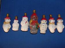 (Lot of 7) Vintage Snowman Light Bulbs