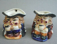 Miniature Toby Character Jug x 2 Hand Painted Creamer Pitcher Pair 2.5in Vtg