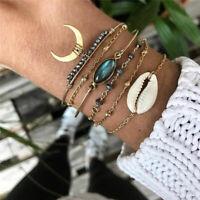6Pcs/ Set Gold Shell Moon Charm Bracelet Set Fashion Multilayer Accessories 2020