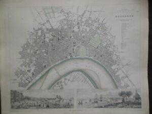 RARE Bordeaux City Map (1852) France, French - George Cox, Part Colour SDUK