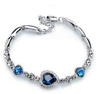Noble New Fashion Women Ocean Blue Crystal Rhinestone Heart Bangle Bracelet Gift