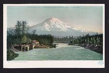 c1907 river view Mt.Rainier Washington state mountains postcard