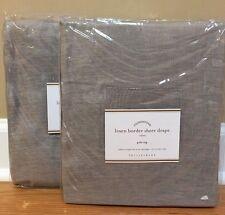 """NEW Pottery Barn Linen Border Sheer Drape 50"""" x 96"""" GRAY WHITE"""