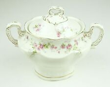 John Maddock & Sons LTD Royal Vitreous Sugar Bowl Pink Rose Flower Antique White