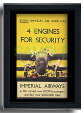 More details for imperial airways hp42 4 engines framed repro poster danvers 1938 handley page 42