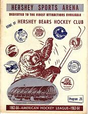 1963-1964 Vintage Hershey Bears Program