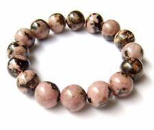 Natural Rhodonite Mineral Rose Stone Bead Bracelet Pink Black Meditation Healing
