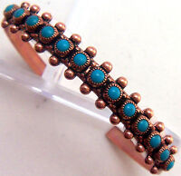 Copper Cuff Bracelet Wheeler Turquoise manmade Healing Arthritis Folklore cb 201