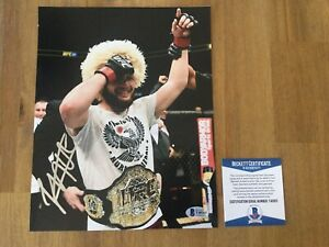Signed Khabib Nurmagomedov Photo 8x10 UFC BAS Beckett COA The Eagle 9