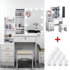 Vanity Table 10 LED Lighted Mirror & 4 Drawers Makeup Dressing Desk Set Bedroom