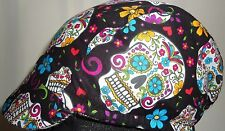 Cycling cap reversible wool color gray/black skull one size superwash brand new