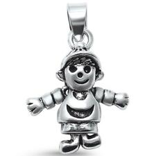 Plain Solid 3D Moving Boy Charm .925 Sterling Silver Pendant